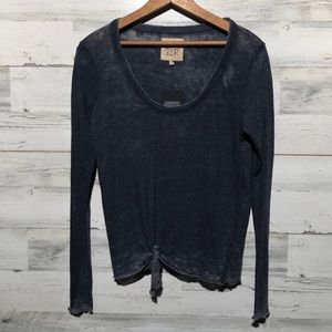 CHASER blue long sleeve tie front top MED